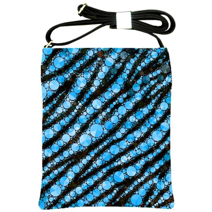 Bright Blue Tiger Bling Pattern  Shoulder Sling Bag