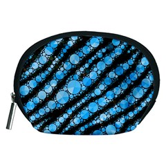 Bright Blue Tiger Bling Pattern  Accessory Pouch (Medium)