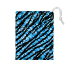Bright Blue Tiger Bling Pattern  Drawstring Pouch (Large)