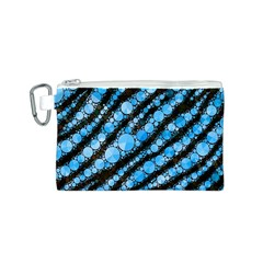 Bright Blue Tiger Bling Pattern  Canvas Cosmetic Bag (Small)