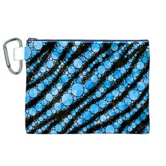 Bright Blue Tiger Bling Pattern  Canvas Cosmetic Bag (XL)