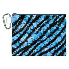 Bright Blue Tiger Bling Pattern  Canvas Cosmetic Bag (XXL)