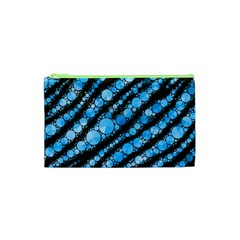 Bright Blue Tiger Bling Pattern  Cosmetic Bag (XS)