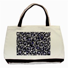 Lavender Cheetah Bling Abstract  Twin Sided Black Tote Bag