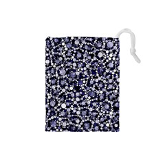 Lavender Cheetah Bling Abstract  Drawstring Pouch (Small)
