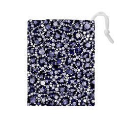 Lavender Cheetah Bling Abstract  Drawstring Pouch (Large)