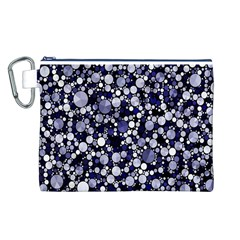Lavender Cheetah Bling Abstract  Canvas Cosmetic Bag (large)