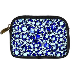Bright Blue Cheetah Bling Abstract  Digital Camera Leather Case