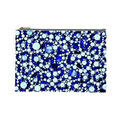Bright Blue Cheetah Bling Abstract  Cosmetic Bag (large)