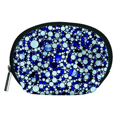 Bright Blue Cheetah Bling Abstract  Accessory Pouch (Medium)