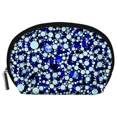 Bright Blue Cheetah Bling Abstract  Accessory Pouch (large)