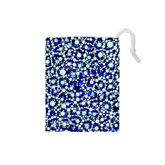 Bright Blue Cheetah Bling Abstract  Drawstring Pouch (Small)