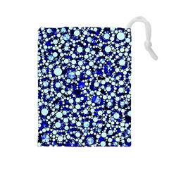 Bright Blue Cheetah Bling Abstract  Drawstring Pouch (large)