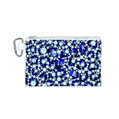 Bright Blue Cheetah Bling Abstract  Canvas Cosmetic Bag (Small)