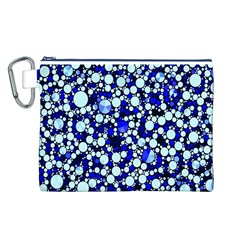 Bright Blue Cheetah Bling Abstract  Canvas Cosmetic Bag (Large)
