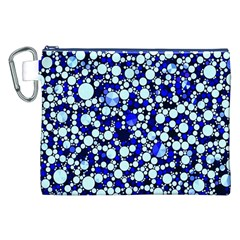 Bright Blue Cheetah Bling Abstract  Canvas Cosmetic Bag (XXL)