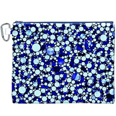 Bright Blue Cheetah Bling Abstract  Canvas Cosmetic Bag (XXXL)