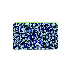 Bright Blue Cheetah Bling Abstract  Cosmetic Bag (XS)