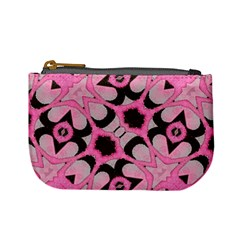 Powder Pink Black Abstract  Coin Change Purse