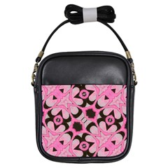 Powder Pink Black Abstract  Girl s Sling Bag