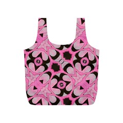 Powder Pink Black Abstract  Reusable Bag (S)