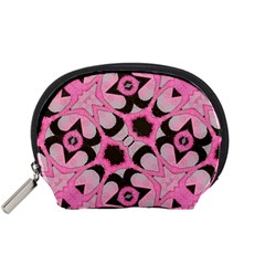 Powder Pink Black Abstract  Accessory Pouch (Small)