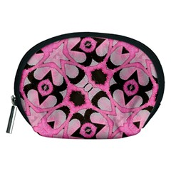 Powder Pink Black Abstract  Accessory Pouch (medium)