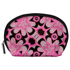 Powder Pink Black Abstract  Accessory Pouch (large)