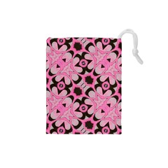 Powder Pink Black Abstract  Drawstring Pouch (Small)