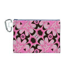 Powder Pink Black Abstract  Canvas Cosmetic Bag (Medium)