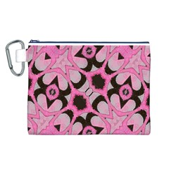 Powder Pink Black Abstract  Canvas Cosmetic Bag (Large)