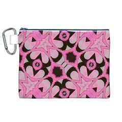 Powder Pink Black Abstract  Canvas Cosmetic Bag (XL)