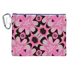Powder Pink Black Abstract  Canvas Cosmetic Bag (xxl)
