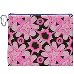 Powder Pink Black Abstract  Canvas Cosmetic Bag (xxxl)