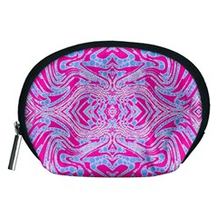 Trippy Florescent Pink Blue Abstract  Accessory Pouch (Medium)