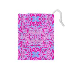 Trippy Florescent Pink Blue Abstract  Drawstring Pouch (Medium)