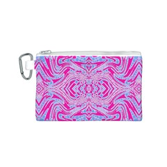 Trippy Florescent Pink Blue Abstract  Canvas Cosmetic Bag (Small)