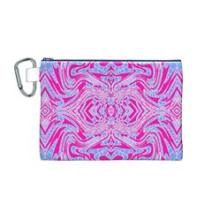 Trippy Florescent Pink Blue Abstract  Canvas Cosmetic Bag (Medium)
