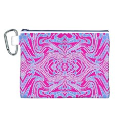 Trippy Florescent Pink Blue Abstract  Canvas Cosmetic Bag (Large)