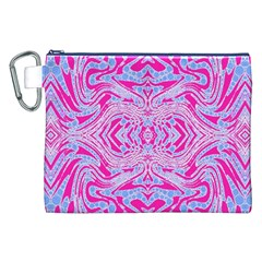 Trippy Florescent Pink Blue Abstract  Canvas Cosmetic Bag (XXL)