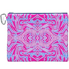 Trippy Florescent Pink Blue Abstract  Canvas Cosmetic Bag (XXXL)