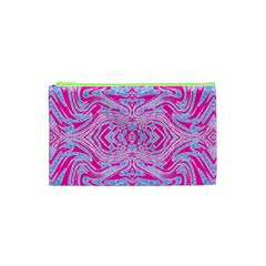 Trippy Florescent Pink Blue Abstract  Cosmetic Bag (xs)
