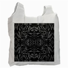 Trippy Black&white Abstract  White Reusable Bag (one Side)