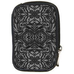 Trippy Black&white Abstract  Compact Camera Leather Case