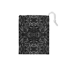 Trippy Black&white Abstract  Drawstring Pouch (Small)