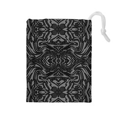 Trippy Black&white Abstract  Drawstring Pouch (Large)