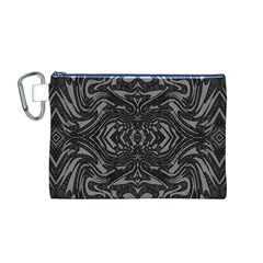 Trippy Black&white Abstract  Canvas Cosmetic Bag (medium)