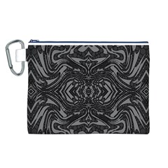 Trippy Black&white Abstract  Canvas Cosmetic Bag (Large)