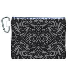 Trippy Black&white Abstract  Canvas Cosmetic Bag (XL)