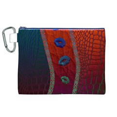 Funky Florescent Sassy Lips  Canvas Cosmetic Bag (XL)